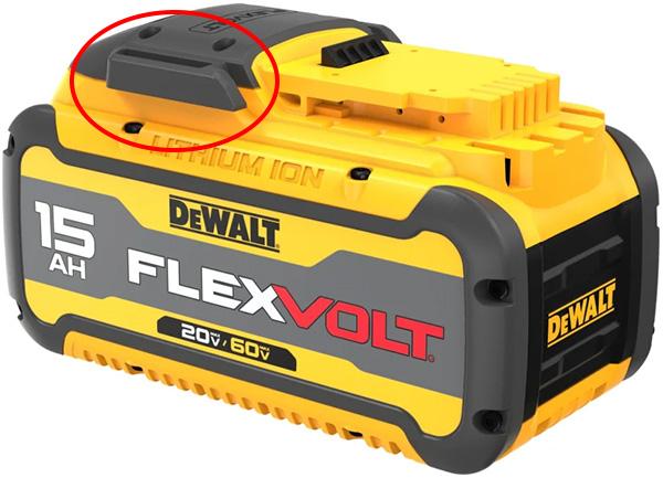 Dewalt DCB615 Cordless Power Tool Battery Top Clip Highlight