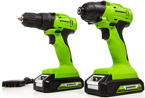 Greenworks 24V Max Cordless Drill and Impact Driver Combo Kit with Brushed Motors