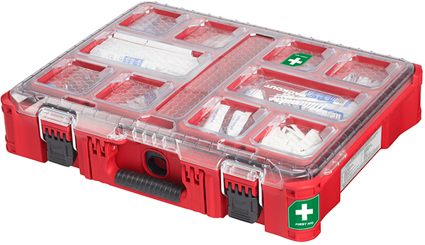 Milwaukee Packout First Aid Kit Large Organizer Clear Lid Closed