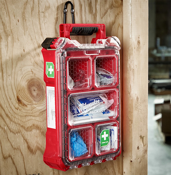Milwaukee Packout First Aid Kit Small Organizer Mounted to Wall with Handle