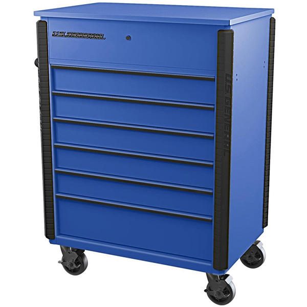 Harbor Freight Full Bank Service Cart in Blue with Closed Lid