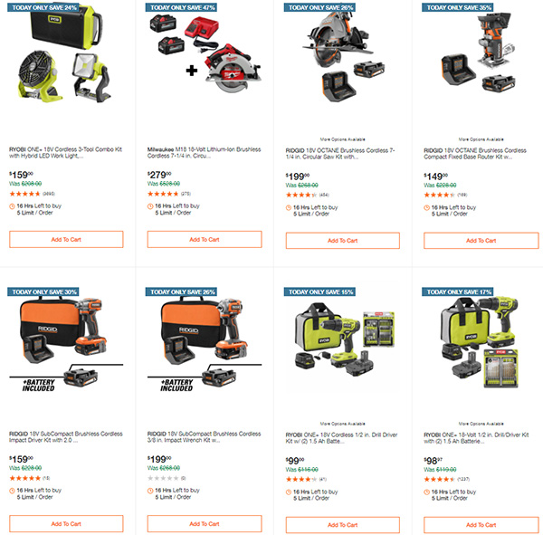 Home Depot Tool Deals of the Day 6-14-21