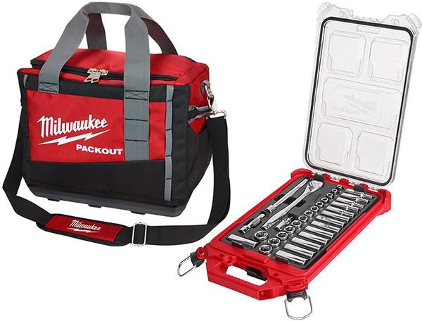 Milwaukee Socket Set and Packout Tool Bag Combo