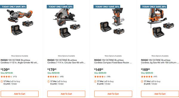 Ridgid 18V Octane Cordless Power Tool Deals 060721