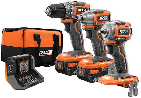 Ridgid 18V Subcompact Drill and Impact Driver and Wrench Kit
