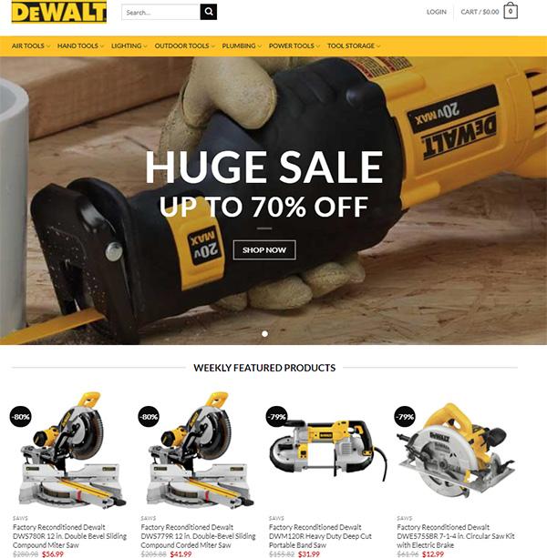 Fake Dewalt Tools Store Home Page