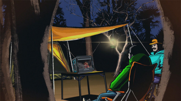 Makita Cordless TV at Campsite