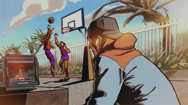 Makita Cordless TV on a Basketball Court