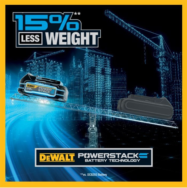 Dewalt PowerStack Cordless Power Tool Battery Weight Benefit