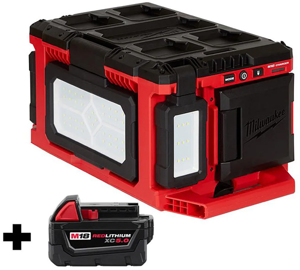 Home Depot Milwaukee M18 Packout Worklight Charger and Battery Bundle