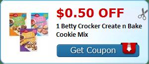 $0.50 off 1 Betty Crocker Create n Bake Cookie Mix