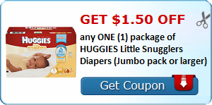 Get $1.50 off any ONE (1) package of HUGGIES Little Snugglers Diapers (Jumbo pack or larger)