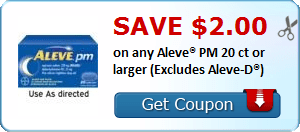 Save $2.00 on any Aleve® PM 20 ct or larger (Excludes Aleve-D®)