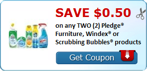 Save $0.50 on any TWO (2) Pledge® Furniture, Windex® or Scrubbing Bubbles® products