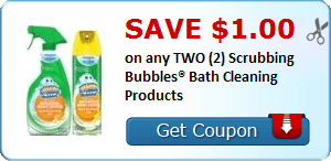 Save $1.00 on any TWO (2) Scrubbing Bubbles® Bath Cleaning Products