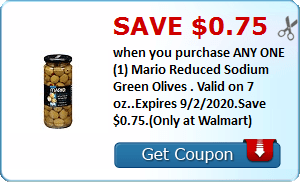 Save $0.75 when you purchase ANY ONE (1) Mario Reduced Sodium Green Olives . Valid on 7 oz..Expires 9/2/2020.Save $0.75.(Only at Walmart)