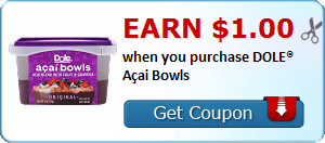 Earn $1.00 when you purchase DOLE® Açai Bowls
