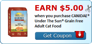 Earn $5.00 when you purchase CANIDAE® Under The Sun® Grain Free Adult Cat Food