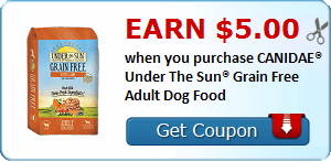 Earn $5.00 when you purchase CANIDAE® Under The Sun® Grain Free Adult Dog Food