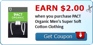 Earn $2.00 when you purchase PACT Organic Men's Super Soft Cotton Clothing