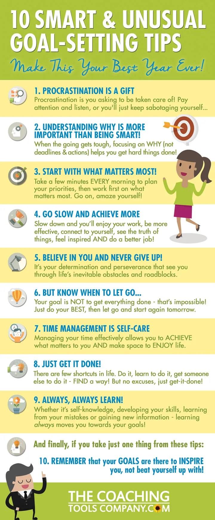 10 Smart Unusual Goal Setting Tips Infographic