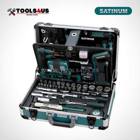 111 satinum maletin aluminio herramientas universales completo 176 piezas _01