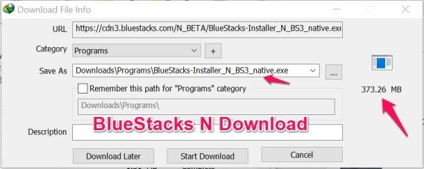 BlueStacks N Offline Download trick