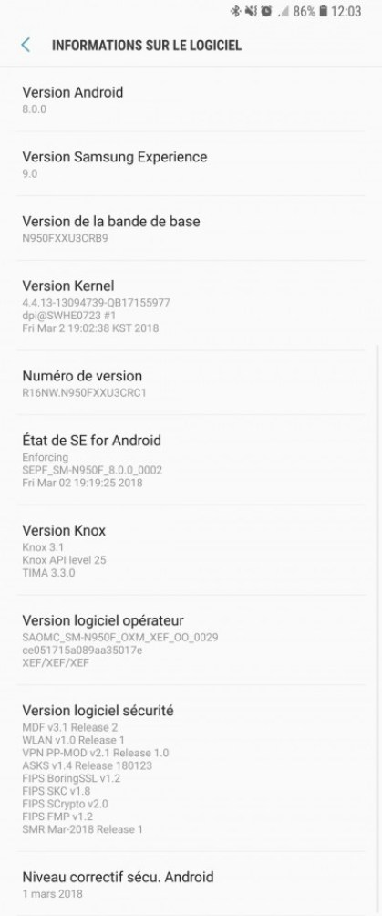 Galaxy note 8 Oreo Update Android 8.0