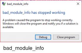 Bad Module Info Error Fix