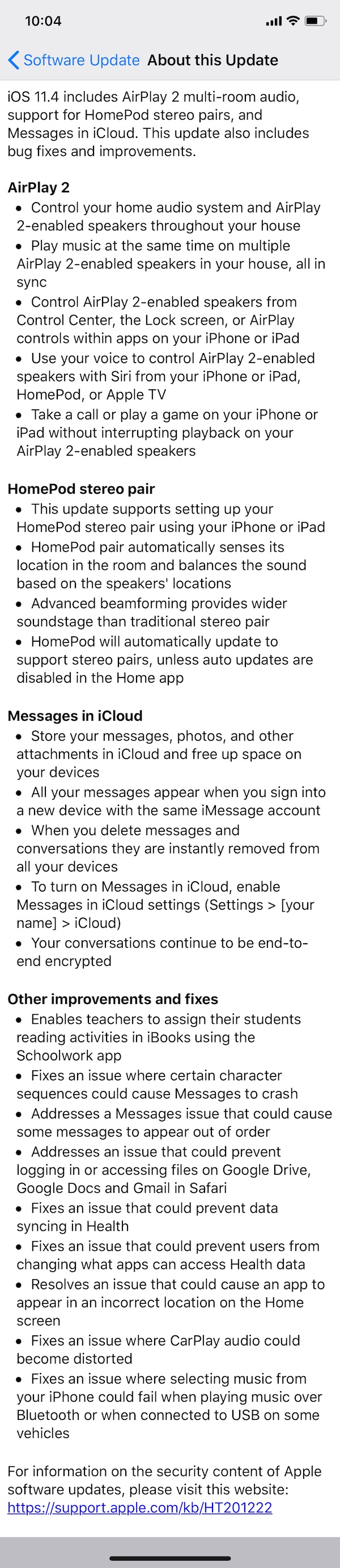 iOS 11.4 ChangeLog