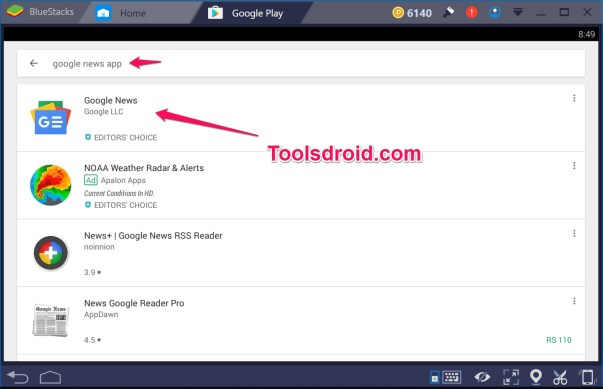 Google News App for PC search