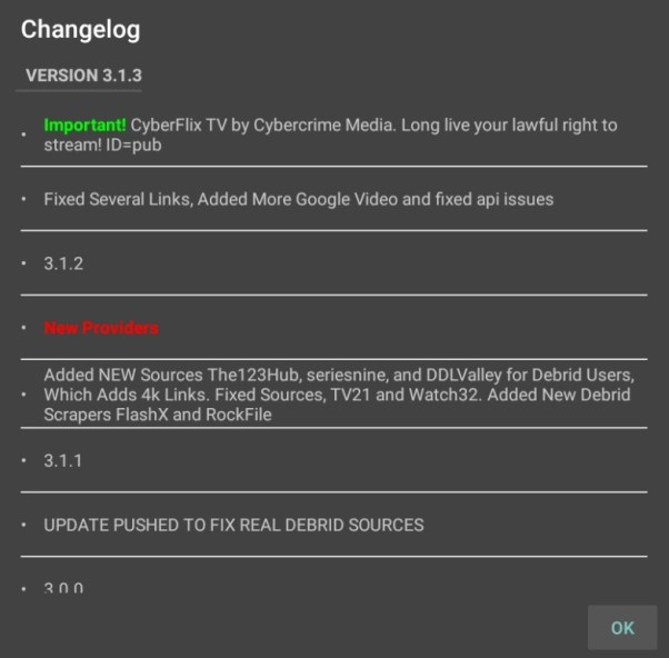 CyberFlix latest version changelog