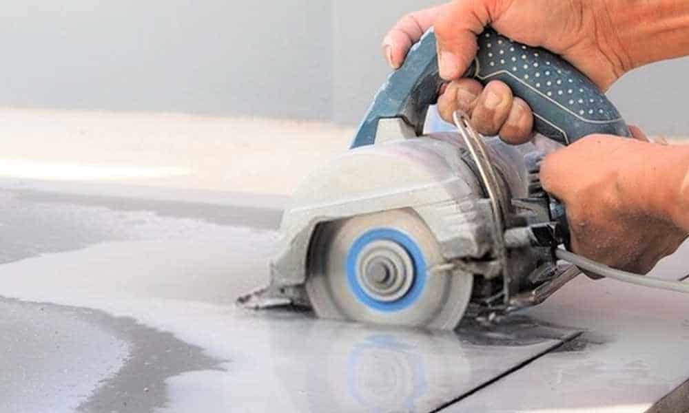 cutting porcelain tile with angle