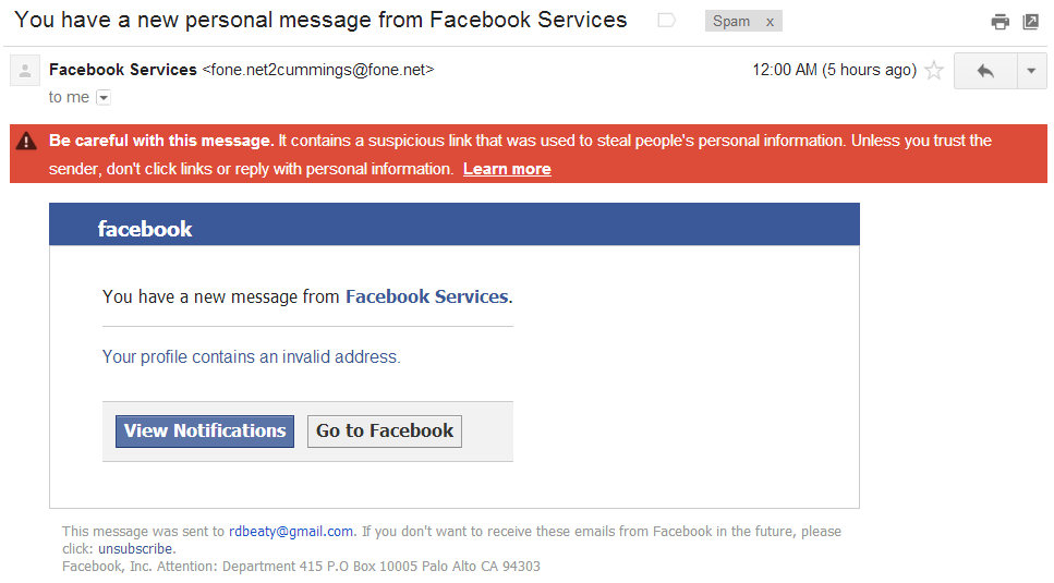Fake Facebook Message – Phishing Attempt