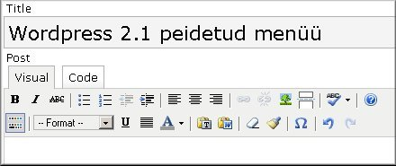Wordpress 2.1 peidetud menüü