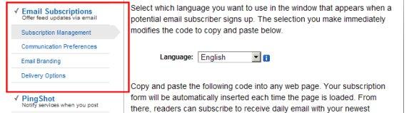 Feedburner - Postituste meilile saatmine - Seaded