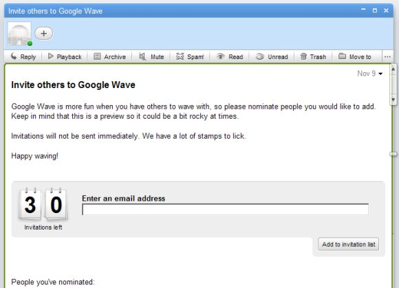 Google Wave kutsed