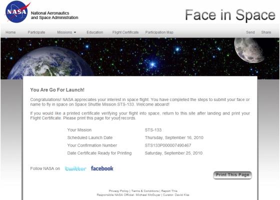 Pilet kosmosesse STS133P000007490467