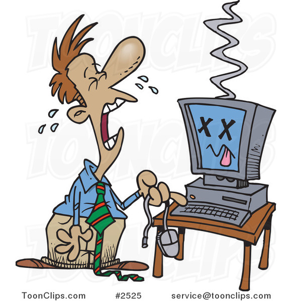 Cartoon Businessman With A Fried Computer 2525 By Ron
