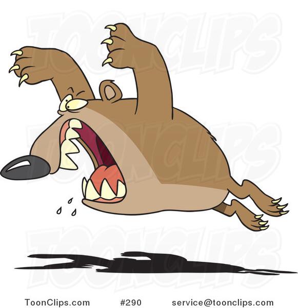 Cartoon Aggressive Bear Leaping 290 By Ron Leishman