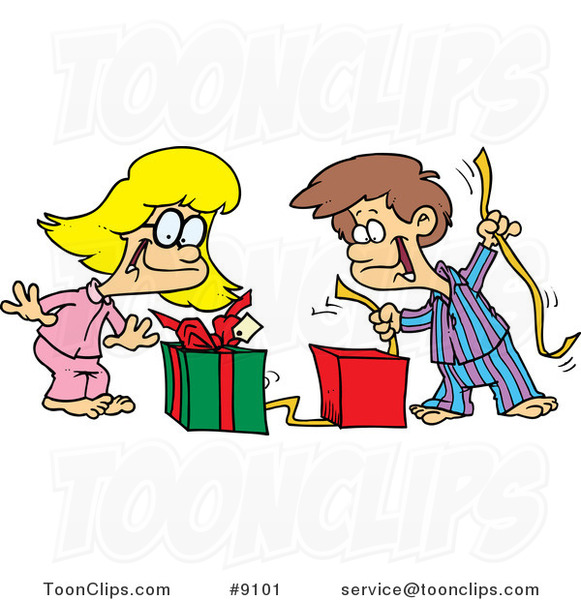 Cartoon Boy And Girl Opening Christmas Gifts 9101 By Ron