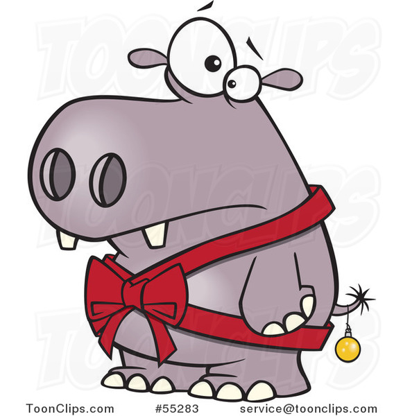 Cartoon Christmas Hippo In A Bow And A Bauble 55283 By