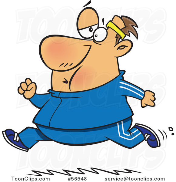 Cartoon Chubby Determined White Guy Running In A Track