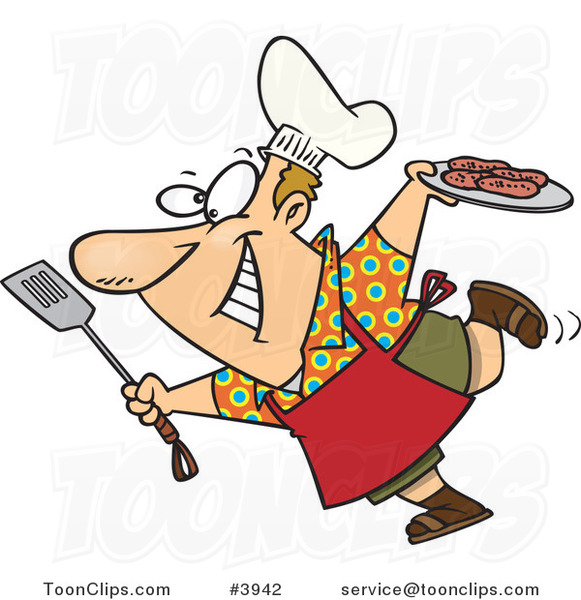 Cartoon Guy Carrying A Plate Of Food To His Bbq 3942 By
