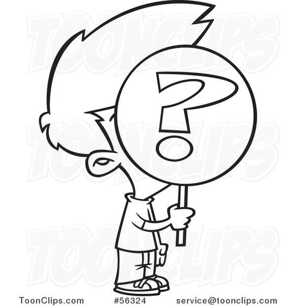 Cartoon Outline Anonymous Boy Holding A Question Mark Sign