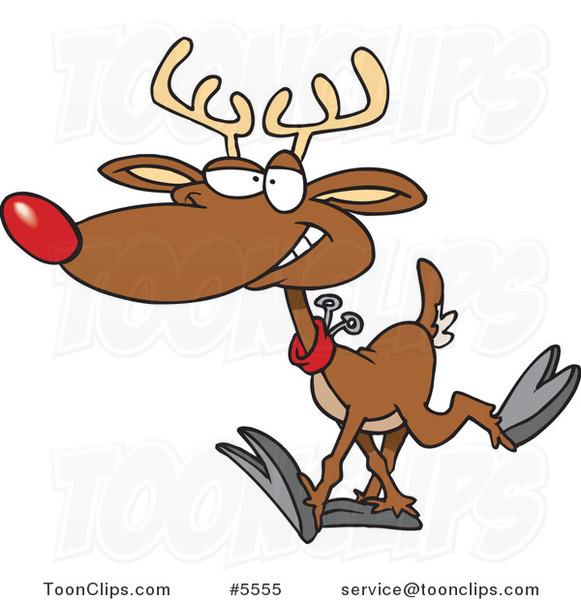 Cartoon Reindeer Walking 5555 By Ron Leishman