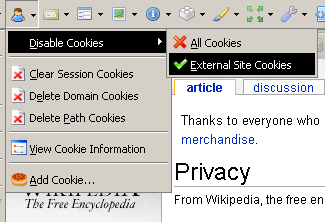 Disable External Site Cookies