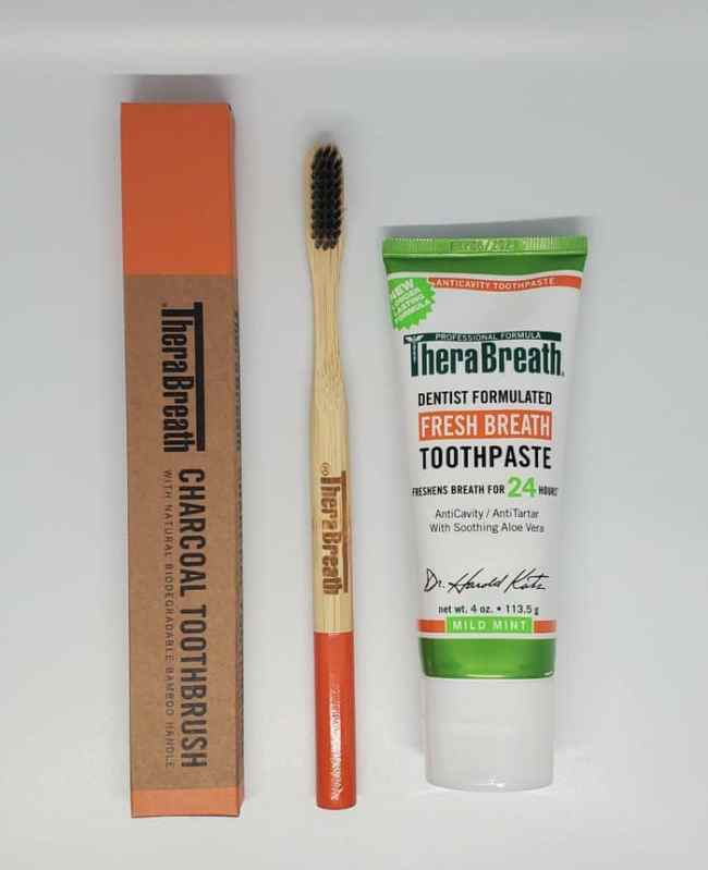 therabreath toothpaste and toothbrush