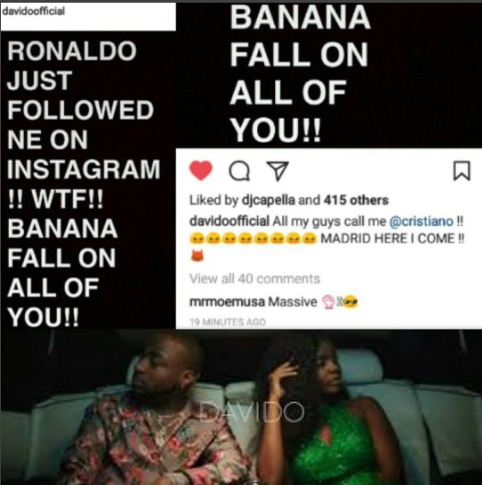 Ronaldo Just Followed Me On Instagram, Banana Fall On You – Davido Brags