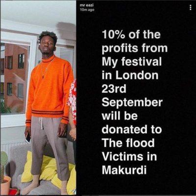 Mr Eazi - Mr Eazi To Donate Funds To Makurdi Flood Victims